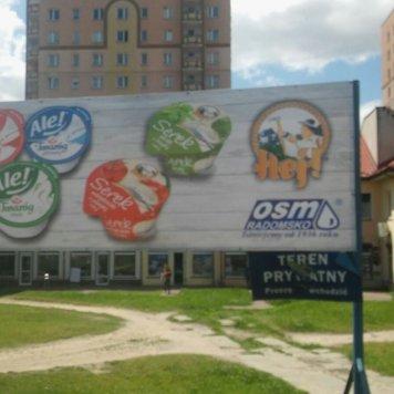 Oznakowanie sklepu firmowego OSM w Łodzi